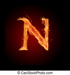 Burning Letter N