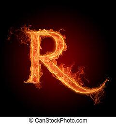Burning Letter R
