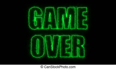 Burning letters of Game over text on black, 3d render...