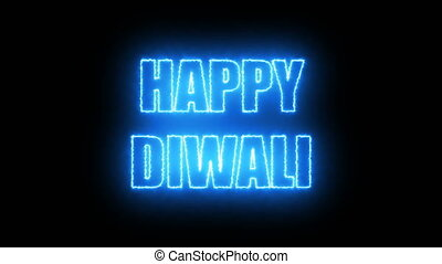 Burning letters of Happy Diwali text, 3d render background,...