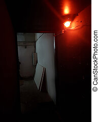 burning light in the room in the underground style.