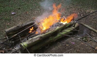 burning, lijk, balinees, begrafenis