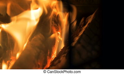 Burning Log Fire - Slow motion shot of a log fire in a home.
