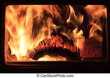 Burning Log with Flames in Fireplace