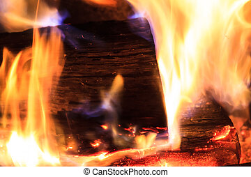 Burning Log with Orange and Blue Flames