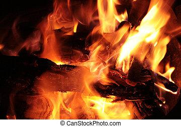 Fire burning in a campfire in Cotacachi, Ecuador