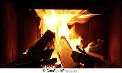 Burning logs in the fireplace