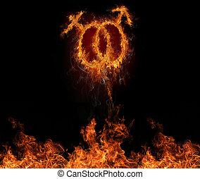 burning, man en vrouw, symbolen, vliegen, van, vuur, wall.symbol, van, liefde