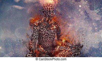 Flaming meditation. Man in lotus pose