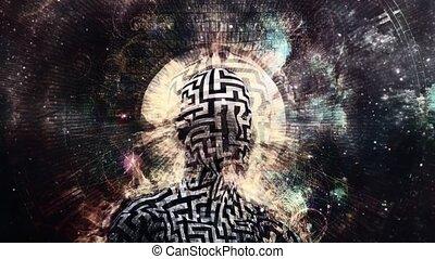 Burning man with maze pattern