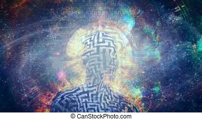 Burning man with maze pattern. Clock face and vivid universe background