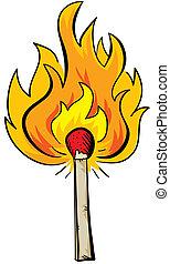 A cartoon match is lit and burns.