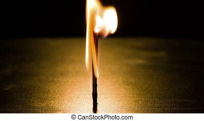 Burning match against dark background closeup
