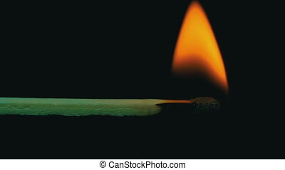 Burning Match And Flame. Slow Motion in 96 fps. Safety Match...