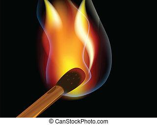 Burning match - BBurning match on a black backgroundurning...