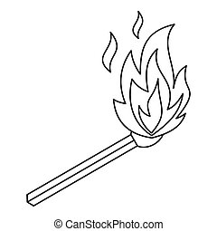 Burning match icon, outline style