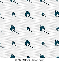 burning match icon sign. Seamless pattern with geometric texture. Vector
