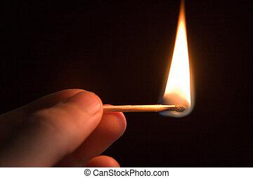 Burning match in the fire-raiser's hand, danger concept