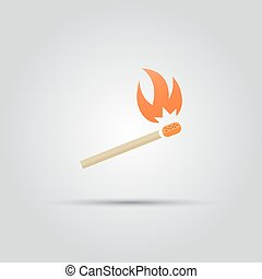 Burning match isolated vector colored icon