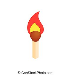 Burning match isometric 3d icon