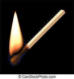 Burning match on black background - Vector illustration of a...