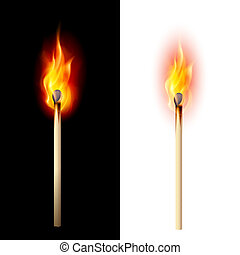 Burning match - Realistic burning match. Illustration on...