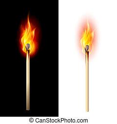 Burning match - Realistic burning match. Illustration on...