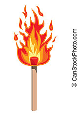 Burning match stick on a white background, vector...