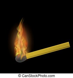 Burning Match with Fire Flame