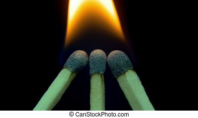 Burning Matches, Chain Reaction And Flame