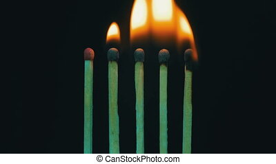 Burning Matches, Chain Reaction And Flame. Five Matches...