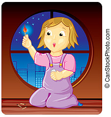 Child with a burning matchstick in one hand looking through window at city