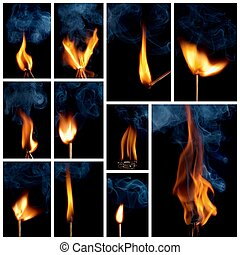 Burning matchstick - Collage burning matchstick on black ...