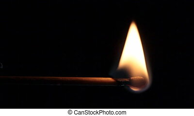 burning matchstick - slow motion of burning matchstick