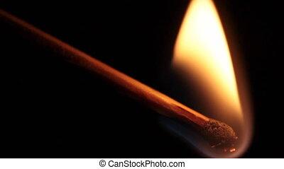 burning matchstick - slow motion of burning matchstick