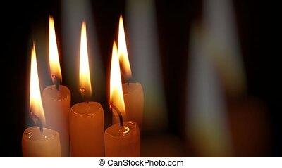 Burning memorial candles on black background - Burning ...