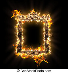 burning metal frame