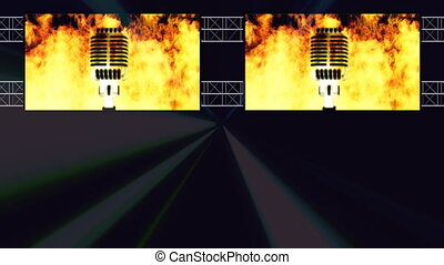 Burning Mic Club Lights Scaffolding Looping Animated Background
