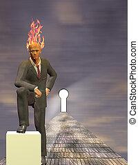Burning Mind Businessman