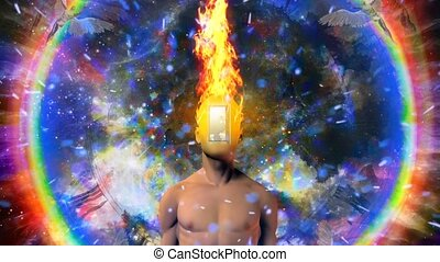 Burning mind - Man with burning mind and open door instead ...