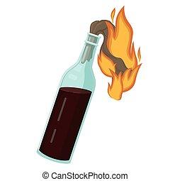 Burning molotov cocktail. Bottle explosive liquid and ...