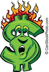 Burning Money Cartoon Face - Cartoon Money Sign on fire with...