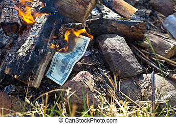 Burning money dollars