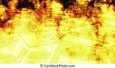Burning Money Looping Animated Background