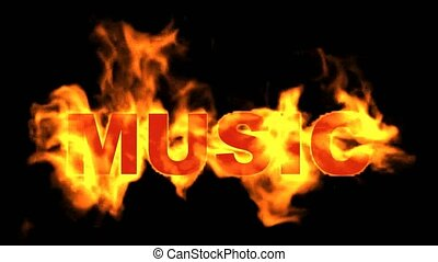 burning music text,fire word.