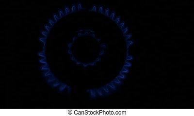Burning natural gas in a kitchen stove HD