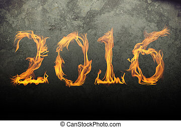Burning numbers 2016 on black background