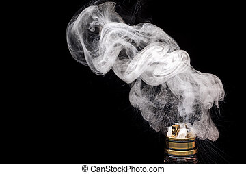 Burning of Electronic cigarette. Popular vaporizing e-cig...