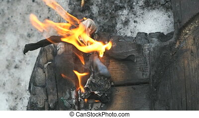 Burning of small toy during Shrovetide carnival