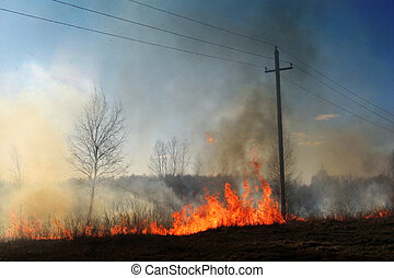 Burning of straw on the field smoke fire electric poles